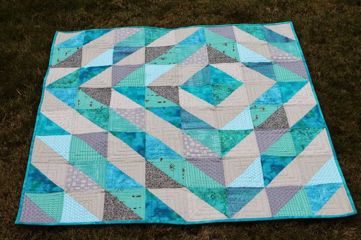 HSTs (Magic 8 Method) Baby Quilt using only Turquoise and grey Quilting is more fun than Housework...: With a Little Help from Friends