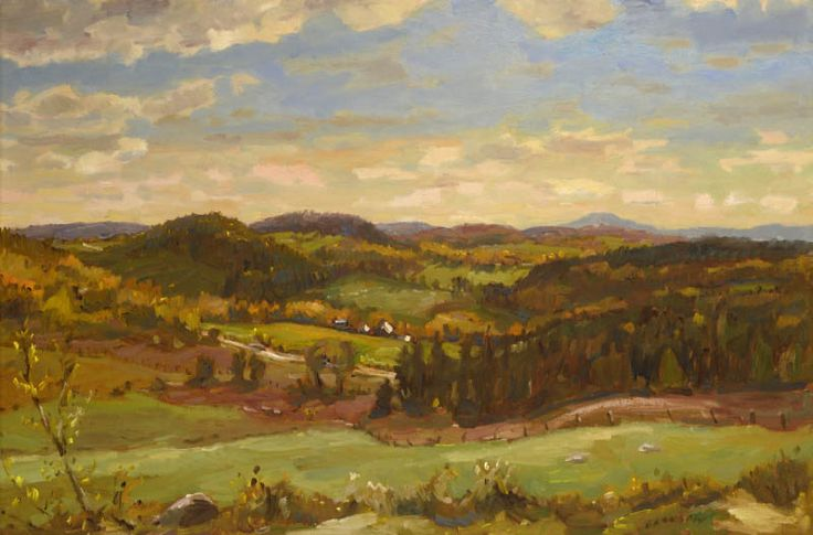 "Helmut Gransow  Helmut Gransow, RCA, CPE, PDCC (1921-2012) ""Autumn - Eastern Townships"" Oil on masonite Signed lower right. Signed and titled on reverse. 24"" × 36"""