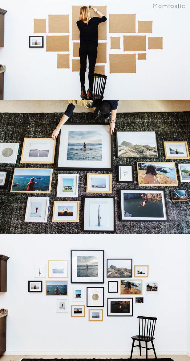 Don't go the trial-and-error route when hanging a gallery wall (that'll just leave your wall full of random holes). Use kraft paper to map out where each frame should go before you even pull out the hammer.