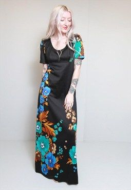 Vintage 1970's Silky Black Floral Maxi Dress