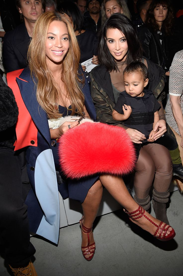 Beyonce and Kim Kardashian at Kanye West x Adidas Show  - ELLE.com