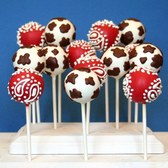 12 Cowboy or Cowgirl Cake Pops - with Cow and Bandana Print for Country, Wild West, Rodeo, Farm, Barnyard, favors, party via Etsy