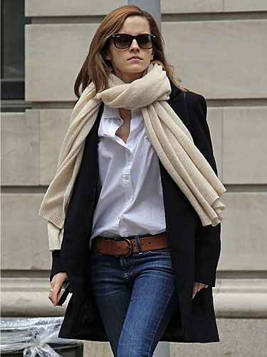 Love this simple look. I could probably make or own a scarf of a similar length but the trench. The awesome jeans, and the loose fitting blouse are all winners here. (Also Emma Watson's fashion choices are brilliant!)