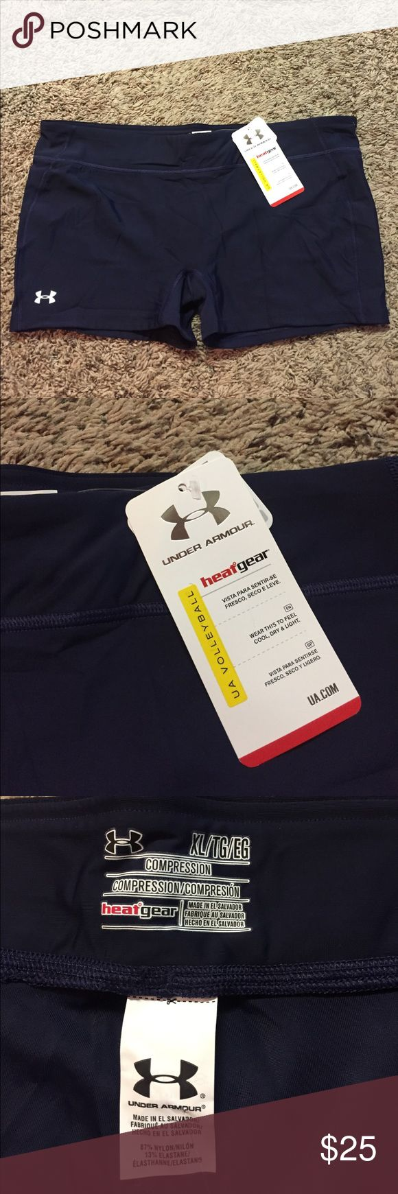 Under Armour Spandex Shorts Navy blue Spandex shorts. Brand new with tags. Compression fit. White logo. Under Armour Shorts