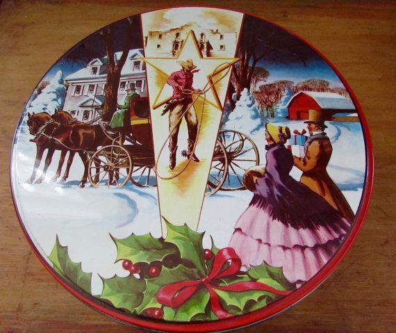 Deluxe Fruitcake Tin Box Texas Cowboy Western Frontier