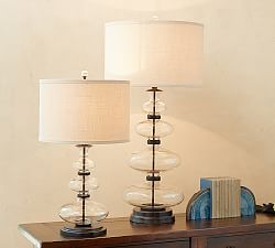 """The bigger lamp is great because of how tall it is, but the glass makes it feel light. 36"""" tall!!! Honestly, I could see it anywhere, bedroom, den, family room...  Table Lamps & Bedside Lighting   Pottery Barn"""