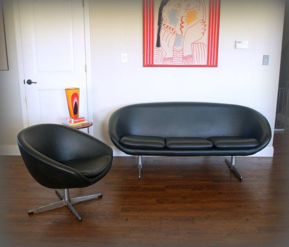 Vintage Mid Century Modern Sofa And Chair 1960s Retro Overman Pod Ab Sweden  Furniture In Black