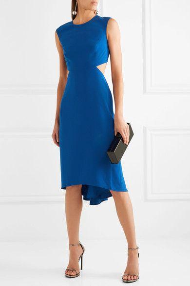 HALSTON HERITAGE Cutout crepe midi dress