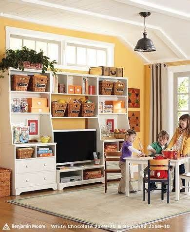 Kids Playroom. tv, table and chairs, organization.