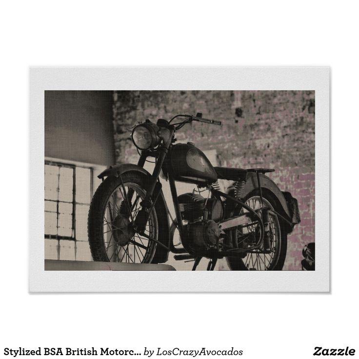 Stylized BSA British Motorcycle Motorbike Poster