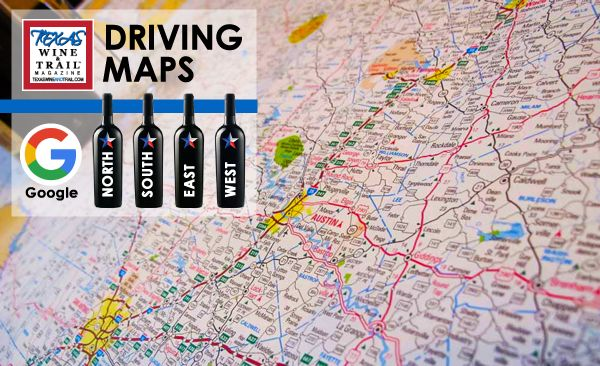 On the trail and need directions? Follow our Texas wine trail maps in your car or download and print to take with you. Google driving maps for every wine trail.