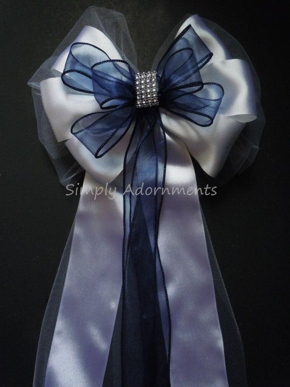 Navy White Wedding Pew Bow Navy Silver Bling by SimplyAdornmentsss