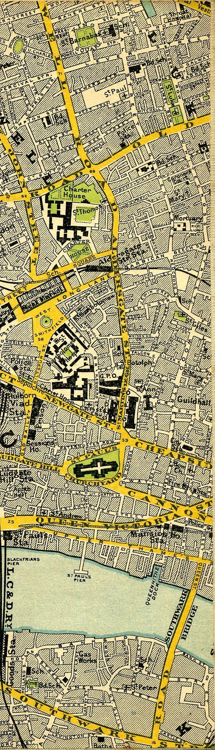 1897 map of central London - St. Luke's and St. Paul's
