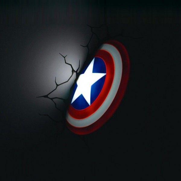 3D Wall Art Captain America Hammer Nightlight