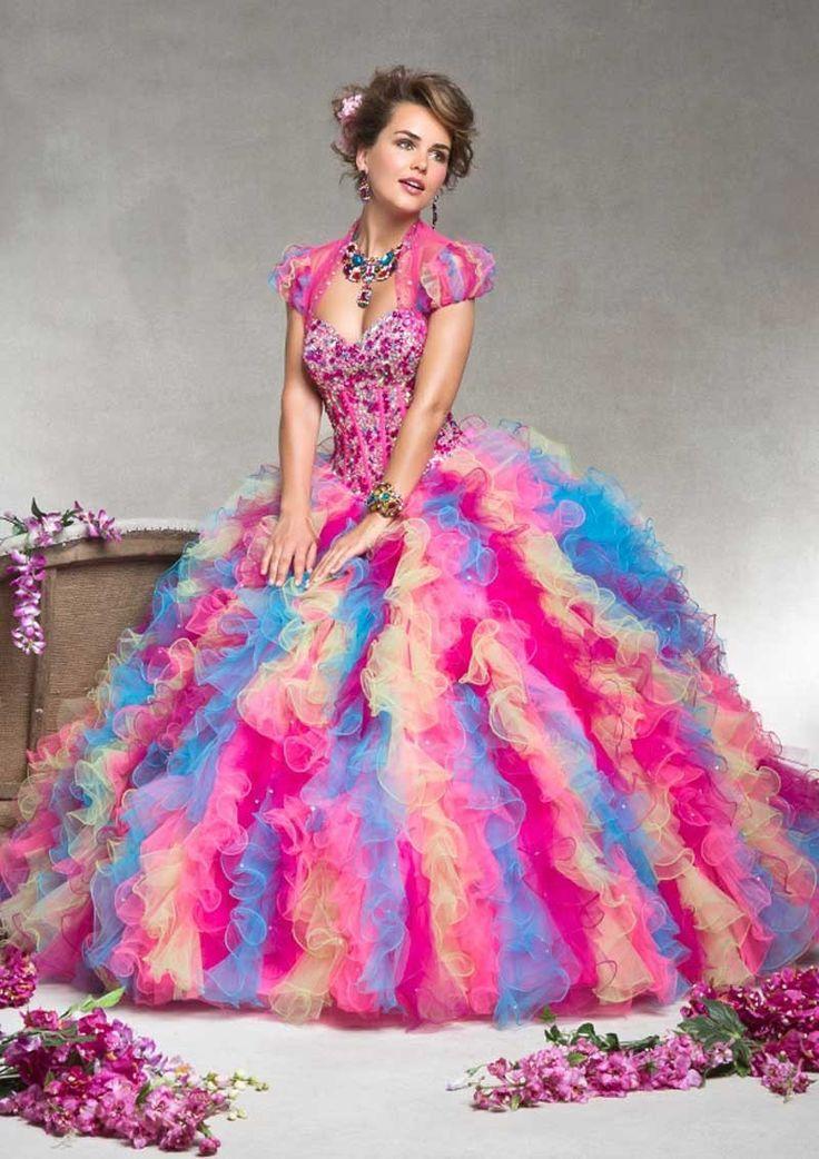 Impressionante surpreendente arco-íris colorido vestido de baile Quinceanera Vestidos com jaqueta de Vestidos de 15 anos menina Pageant vestido(China (Mainland))