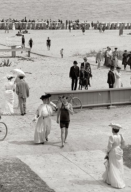 Florida circa 1905. The beach at Palm Beach.