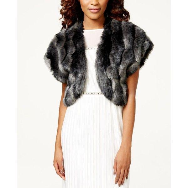 Tahari Asl Faux-Fur Bolero Shrug ($99) ❤ liked on Polyvore featuring outerwear, grey, shrug cardigan, grey shrug, gray shrug, cardigan shrug and faux fur shrug