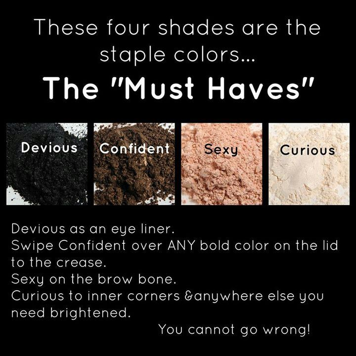 The  Younique 'Must Haves' - Devious, Confident, Sexy and Curious pigments! www.youniqueproducts.com/rachelsuesskow
