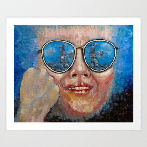 Blue Excitement http://www.artoutloop.com/ #glasses, #paris, #tower, #Eiffel_Tower, #face, #portret, #oil,#paiting