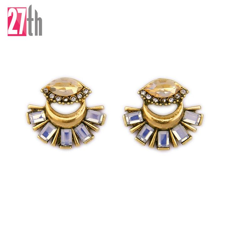 2016 Latest Fashion Crystal Glass Stud Earrings Women Antique Gold Plated Moon Piercing Earrings Christmas Gift for Girls Onsale