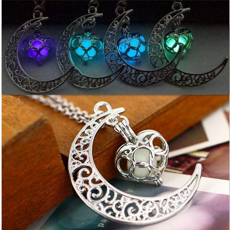 Fashion Women Chic Glow in the Dark Hollow Moon Love Heart Pendant Luminous Necklace Sweater Chain Jewelry