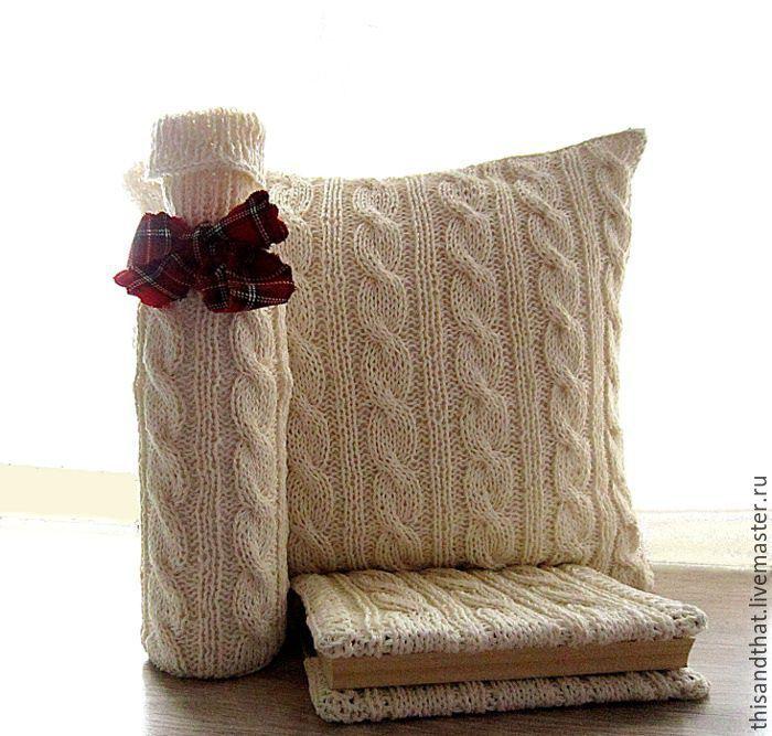 Купить Комплект вязаный Уютный уголок - экрю, молочный цвет, наволочка на…
