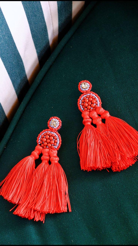 red statement tassel earrings / Coralie Reiter Jewelry