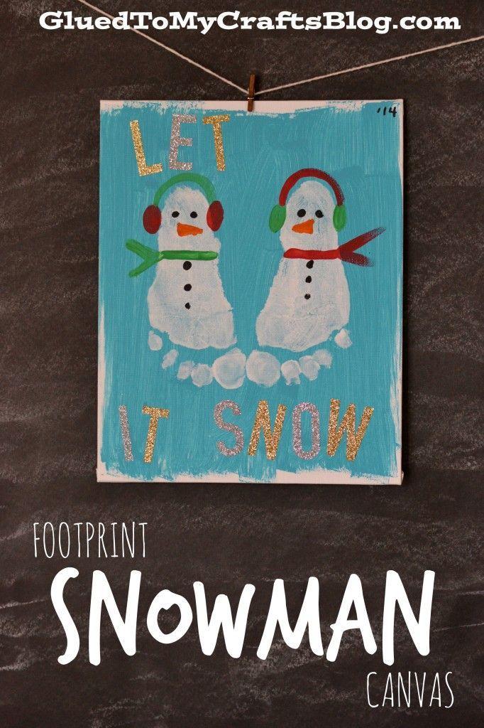 Footprint Snowman Canvas craft for kids. #wintercraft #snowman #preschool Schneemänner als Weihnachtskarte basteln mit Kindern. Fussabdrücke Schneemänner DIY