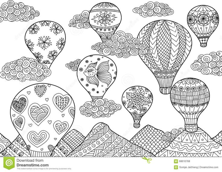 hot air balloon flying zentangle stylized for coloring book for anti stress for both adult and children stock vector - Coloring Book Creator