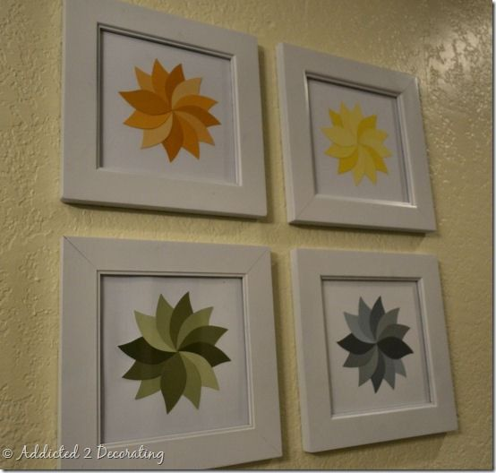 paint chip artwork  - (I have some of these leaf shaped paint chips - I'm totally doing this!)