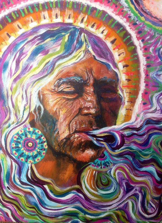 This is a high quality professional print size 14 by 12 of my original painting la Curandera. This painting was inspired by the mystic healing