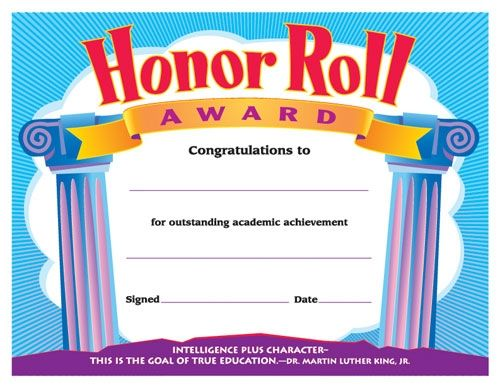 Honor Roll Award. Reward your students for their special ...
