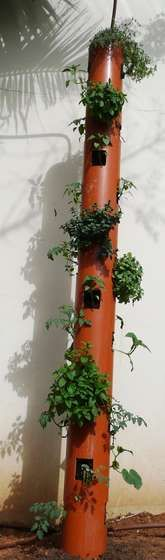 DIY Vertical Planter.  Love this idea - PVC pipe; could be any length; great for my traveling herb garden.
