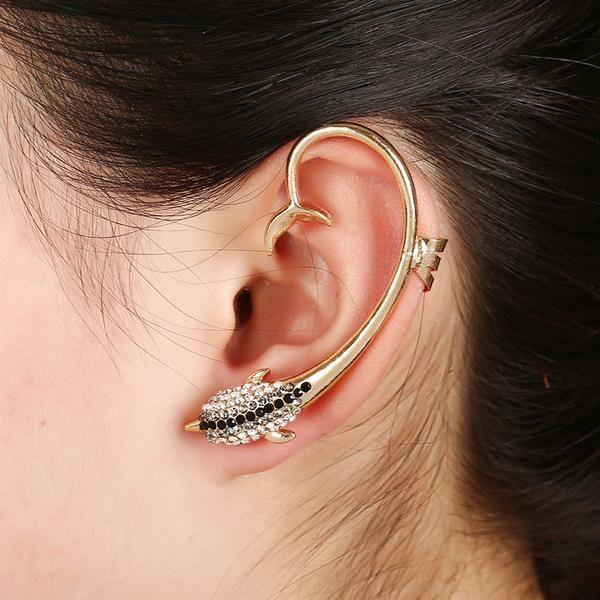 Vintage Dolphin Rhinestone Dolphin Clip Earrings