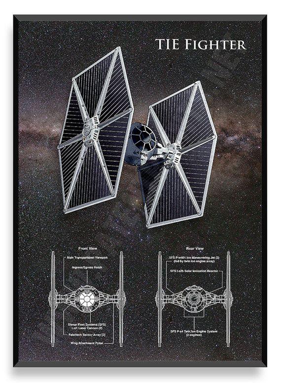 ATAR el cartel combate nave de Star Wars por PatentPrintsPosters