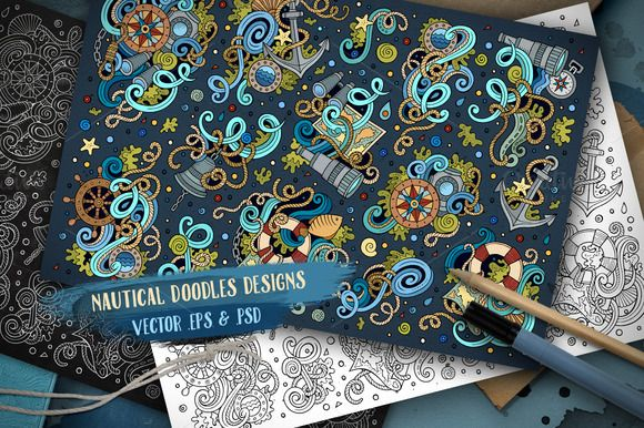 Nautical Doodles Designs Set by balabolka on @creativemarket