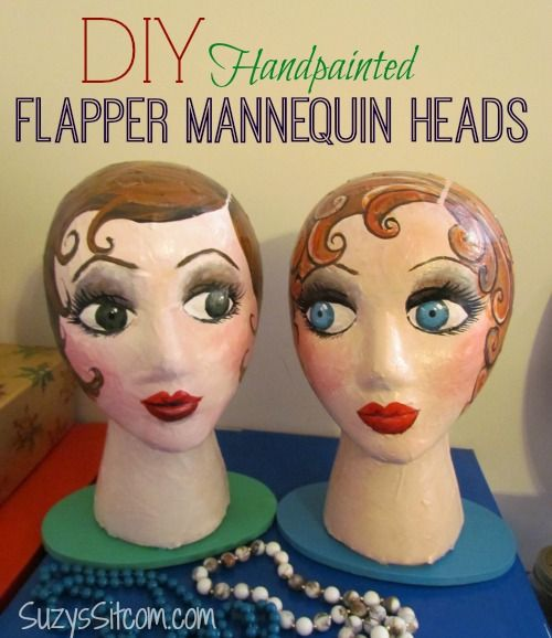 How to make handpainted paper mache mannequin heads.  Cute idea to hold your hats or headbands!