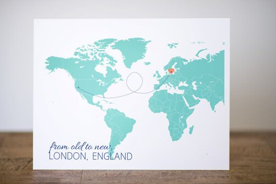 Personalized Travel Map Print w Arrows – Personalized Travel Maps