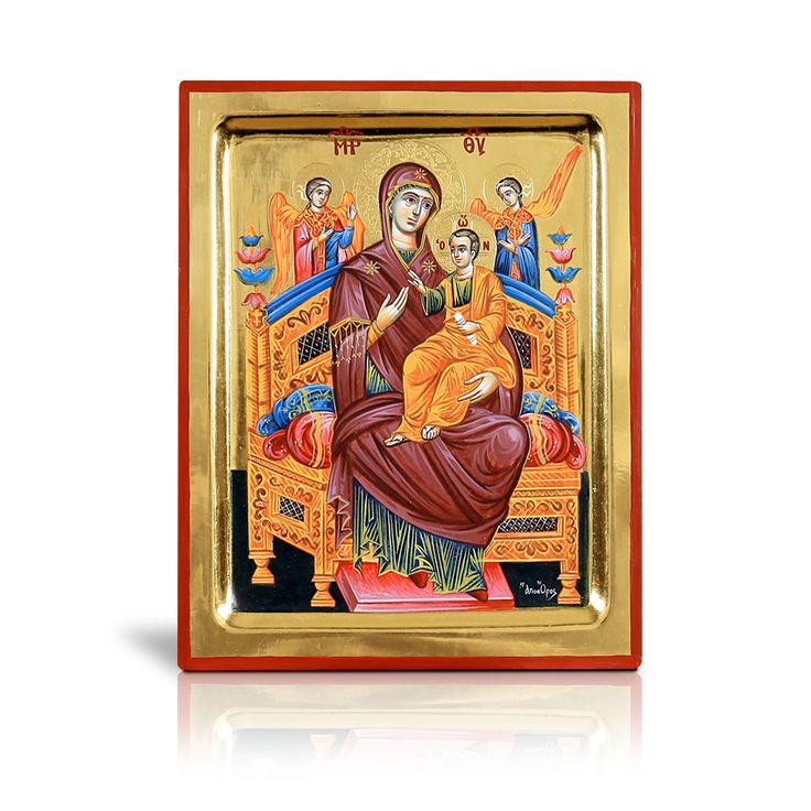 Στην χειροποίητη και συλλεκτική αυτή αγιογραφία εικονίζεται η Παναγία ένθρονη σε ξυλόγλυπτο, κατάκοσμο θρόνο, έχοντας τον Χριστό στην αγκαλιά της. Αποτελεί συλλεκτική αγιογραφία, έργο βυζαντινής τέχνης το οποίο διατίθεται αποκλειστικά από την artionrate με την έγκριση και την ευλογία της Ιεράς Σκήτης του Αγίου Όρους. - In this handmade and collectable piece of byzantine art, Virgin Mary is depicted sitting on her throne, while Jesus is sitting on her lap. (Skete of Saint Anne, Mt Athos)