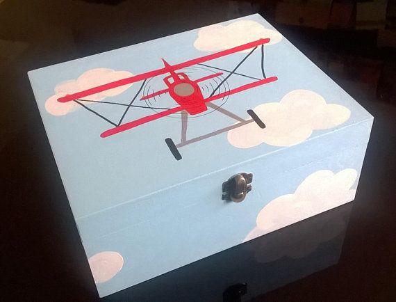 hand painted wooden box childrens storage box kids room decor wooden memory box