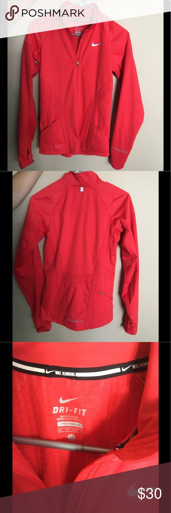 New Nike Dri Fit Zip Up Brand new Nike red workout zip up. Pockets on both sides and one zipper pocket on back. Sleeves have thumb holes. Beautiful details! Nike Tops Sweatshirts & Hoodies