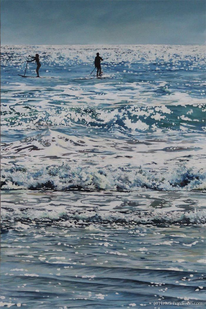 Paddle Boarders - Oil on Canvas 61 x 92cm (24″ x 36″) Perfect day at Scotts Head, paddle boarders enjoying the surf and sunshine.