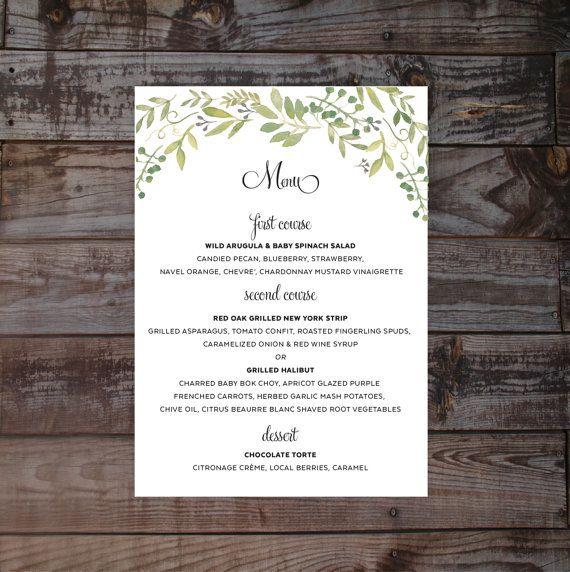 Wedding menu, wedding menus, floral wedding menus, wedding reception menu, printable wedding menu, vintage wedding menu, watercolor menu