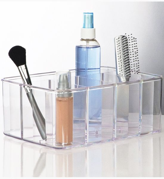 Keep your bathroom and your cosmetics organized with this Acrylic Vanity Organizer. This organizer is also useful in the office or for school supplies.