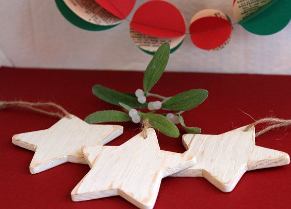 Rustic Thin Timber Star Tree Ornament by ALittleBitOfLemon on Etsy