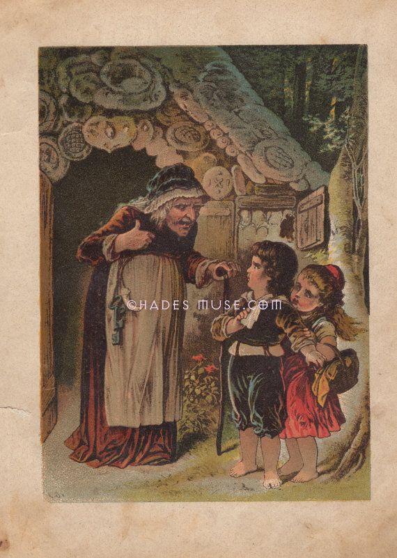 Wicked Witch-Candy House-Kayıp Çocuklar Woods-Hansel & Gretel-Brothers Grimm Masal-1890 Vintage Antik Sanat Baskı-Çocuk Resmi