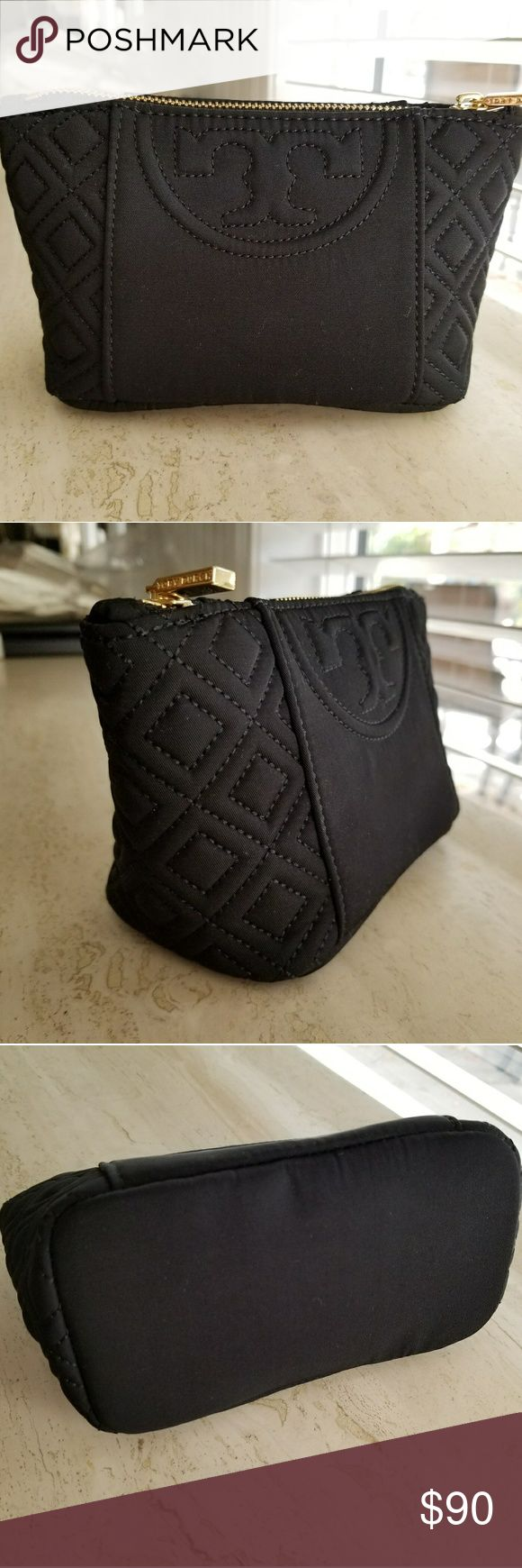 Tory Burch Cosmetic Bag Black - NEW Brand new/never used Tory Burch small cosmetic bag in black fabric.  Always stored properly and stuffed to hold it's shape. Tory Burch Bags Cosmetic Bags & Cases