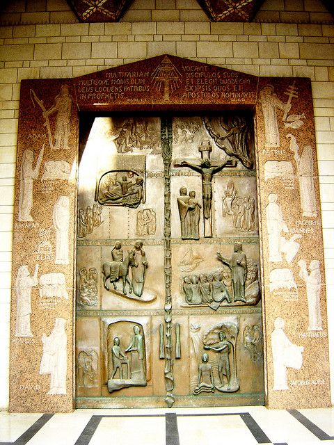 The massive bronze door at the entrance to the Basilica of The Annunciation, Nazareth, Israel  | Flickr - Photo Sharing!