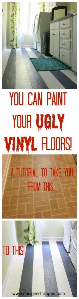 AWESOME!  Learn how to paint outdated vinyl floors with this full tutorial by Designer Trapped in a Lawyer's Body.