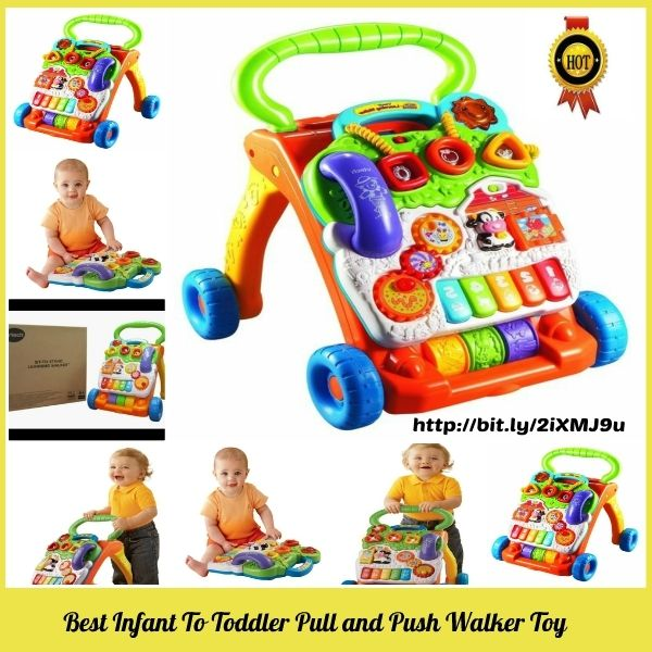 Vtech Best Infant To Toddler Pull and Push Walker Toy?  Pull and Push Walker Toy is a great learning toy for baby's many developmental stages. It's affordable, entertaining for baby and educational. Watch to learn about the features on this pro...
